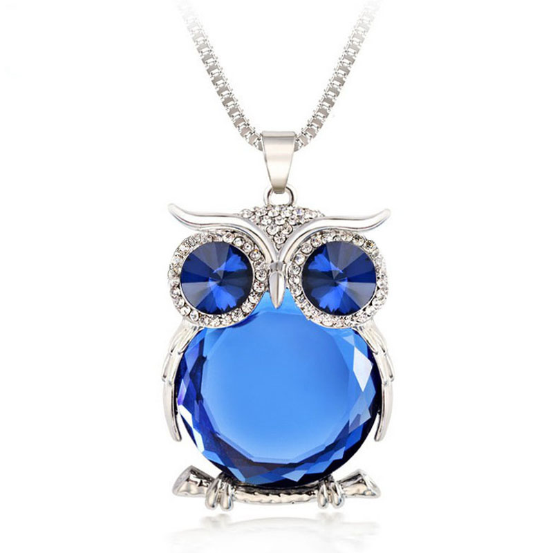 8 <font><b>Colors</b></font> Owl Necklace Top Quality Rhinestone Crystal Pendant Necklaces Classic <font><b>Animal</b></font> Long Necklace Jewelry For Women Gift