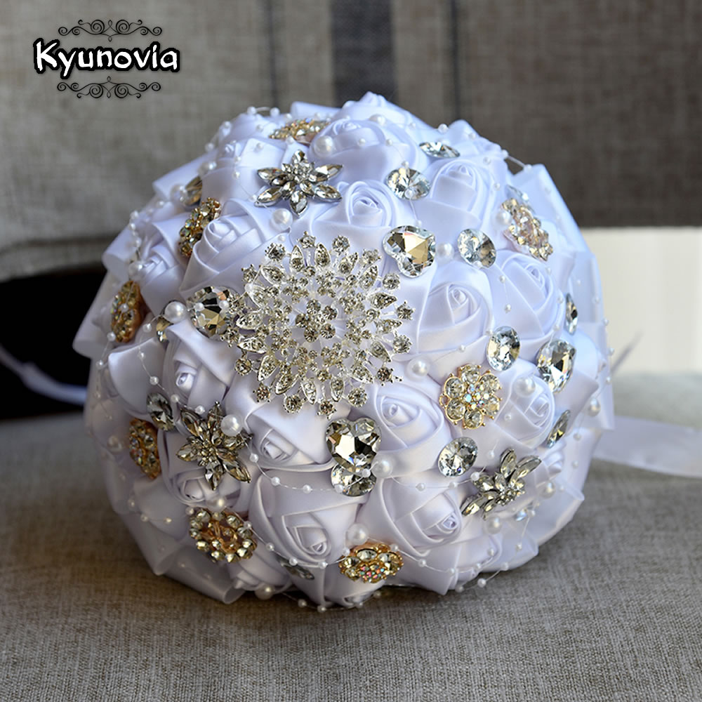 Kyunovia Burgundy Brooch Bouquet Ivory Bride Bouquets de mariage Artificial Crystal Wedding Flowers buque de noiva 4 Colors FE86