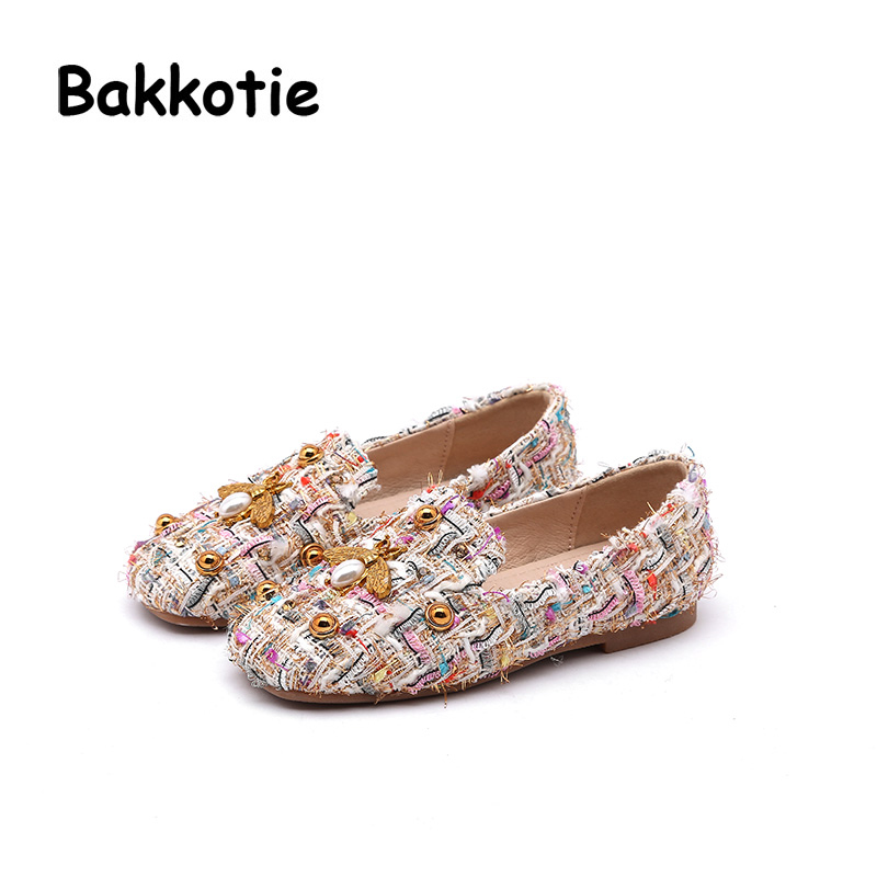 Bakkotie 2018 Spring New Fashion Children Bee Loafer Kid Pearl Casual Princess Shoes Baby Girl Rivet Black Brand Sweet Flats