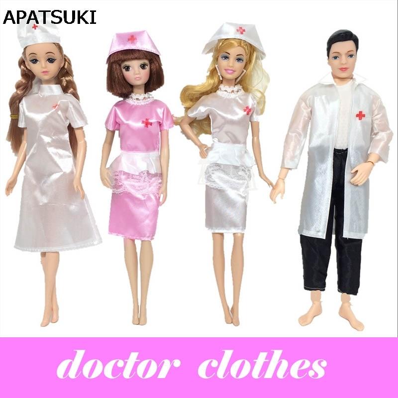 인형 액세서리 코스프레 의상 인형 세트 인형 장난감 패션 의류 유니폼 여성 간호사 남성의 의사 드레스 인형 바비 인형