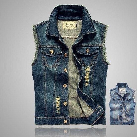41dd669bd0c M-4XL 5XL Plus Size Summer Men s Sleeveless Jean Jackets Vest Of Men Denim  Vests