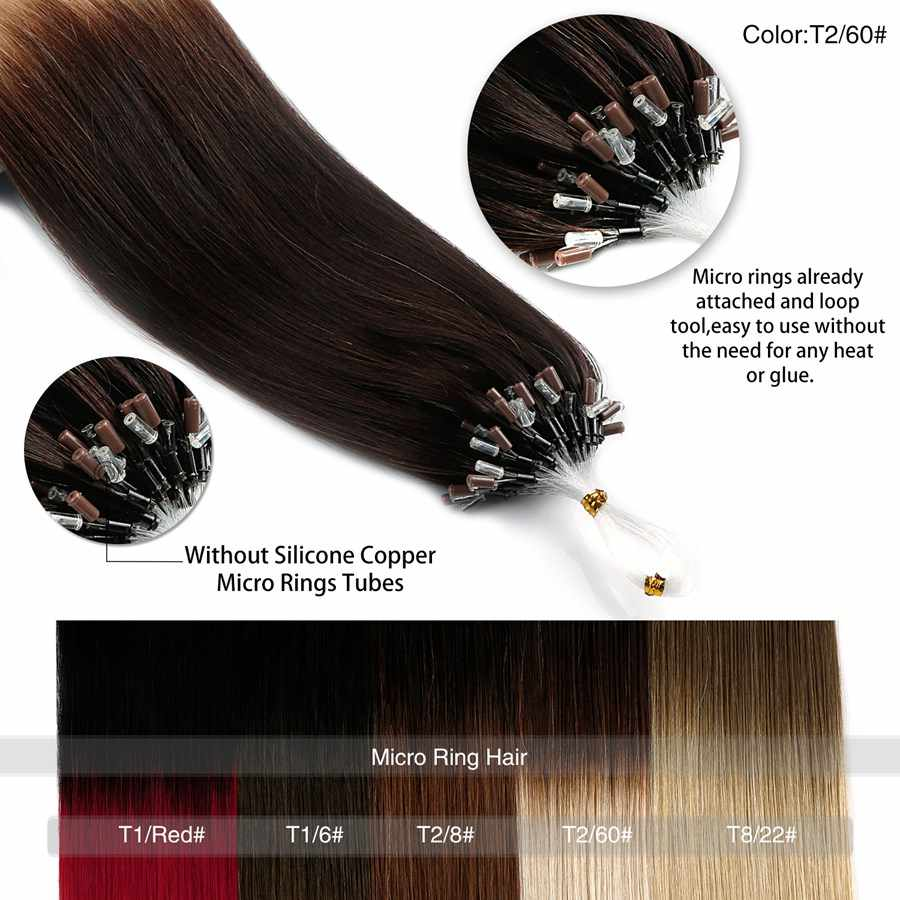 "Neitsi Loop Micro Ring Machine Gemaakt Remy Hair Extension 100% Human Hair Straight Ombre Piano Kleur Micro Links 20"" 50 Cm 1 G/s 50G"