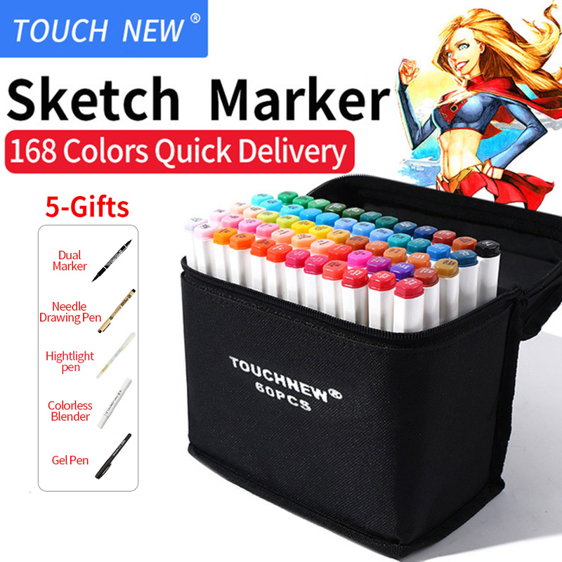 TOUCHNEW 30/40/60/80 Colors Art Marker Set Alcohol Based Sketch Marker Pen For Drawing Manga Design Art Set Supplies touchnew artist double headed sketch marker set 30 40 60 80 colors alcohol based manga art markers for drawing design supplies