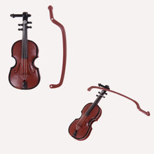 1Pc Music Instrument DIY 1/12 Dolls House Wooden Violin with Case Stand Plastic Mini Violin Dollhouse Crafts(China)
