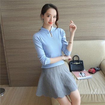 3252 – 2018 Korean New Women's cheongsam collar sweater in autumn winter elegant Knitted sweaters women  female Pullovers