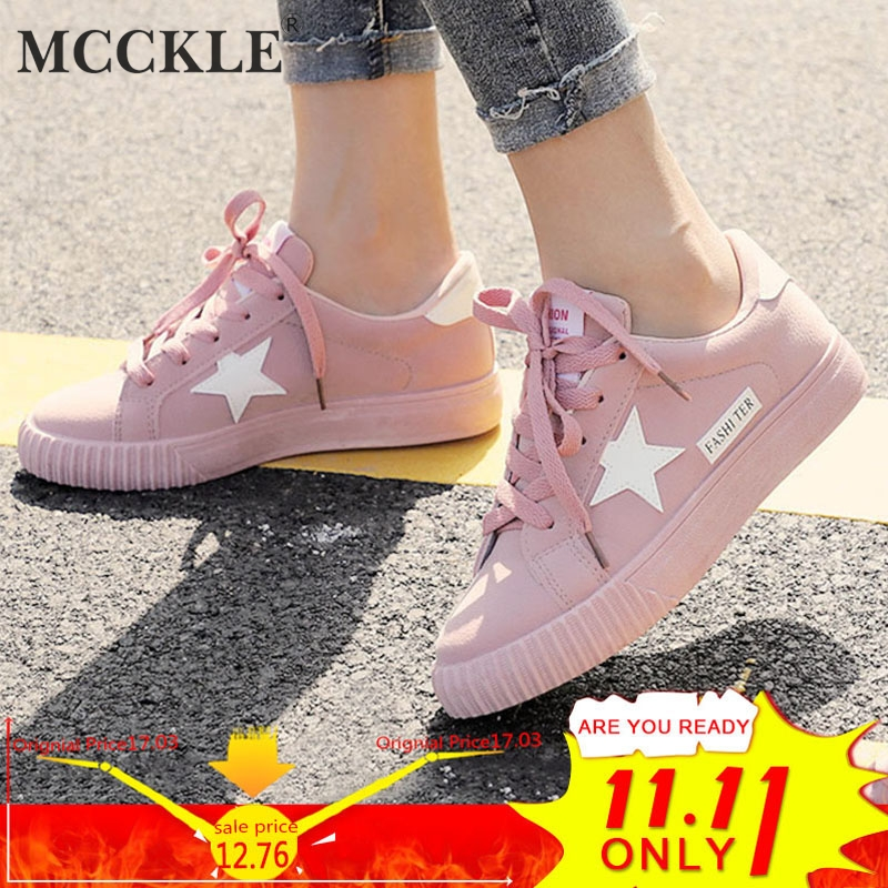 MCCKLE Autumn Women Sneaskers Plus Size Platform Flat Shoe Star Vulcanized Shoes Lace Up Female Casual Fashion Canvas Flats 2017 women classic all lace up canvas shoes female casual shoes flats espadrilles zapatos mujer chaussure homme star shoe