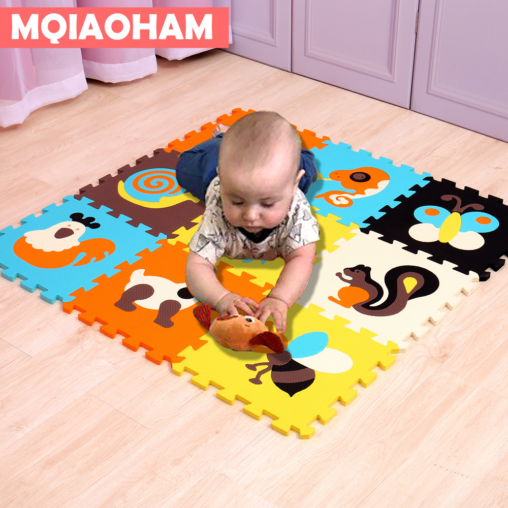 9PCS/Lot Baby EVA Foam Play Puzzle Mat Color Crawling Carpet Rugs Interlocking Floor Protective Tiles Soft Kids Jigsaw Mats EVA