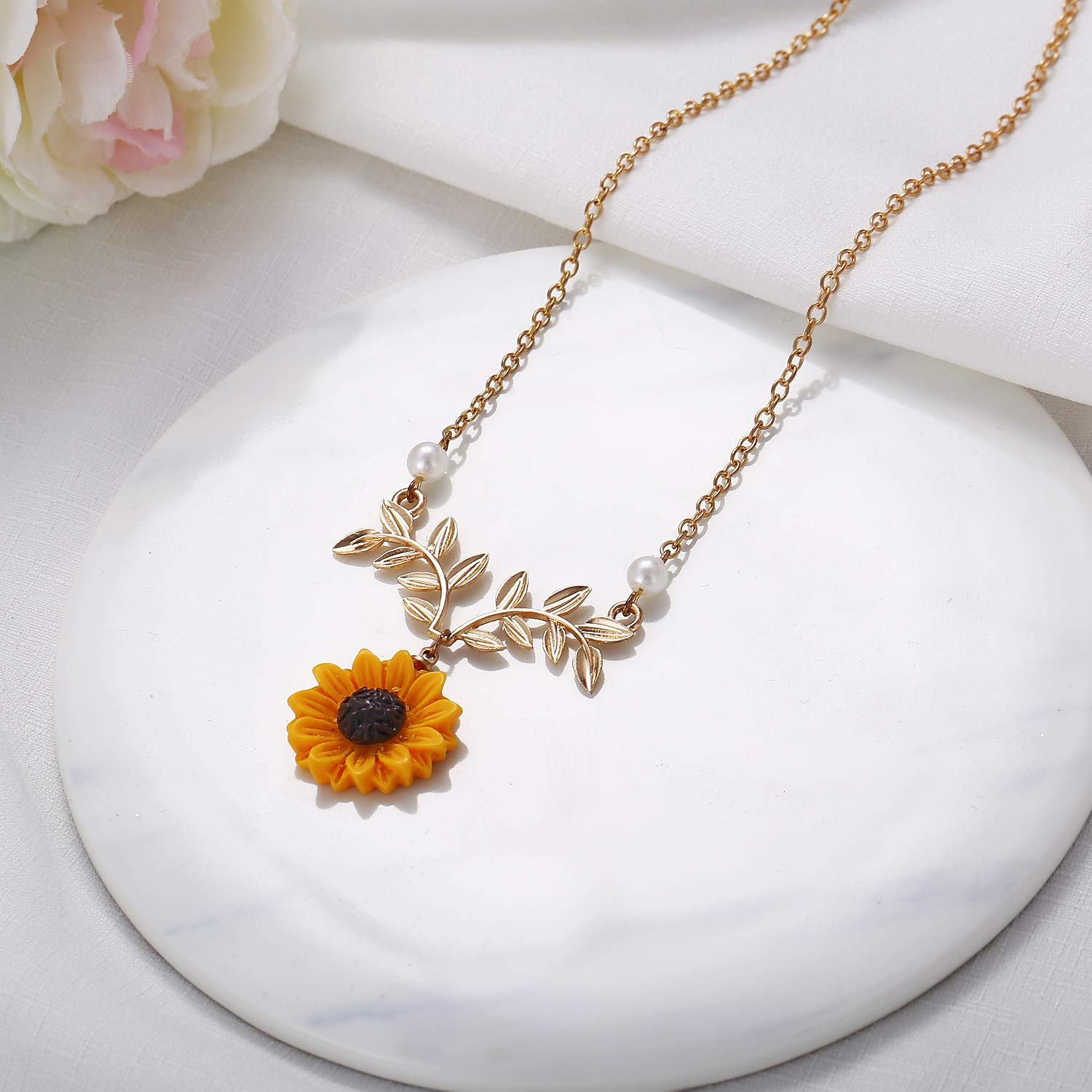 a71d8c351f Oscenlife Sunflower Pearl Leaf Chain Resin Boho Handmade Drop Pendant  Choker Necklace Plated-in Pendants from Jewelry & Accessories on  Aliexpress.com ...
