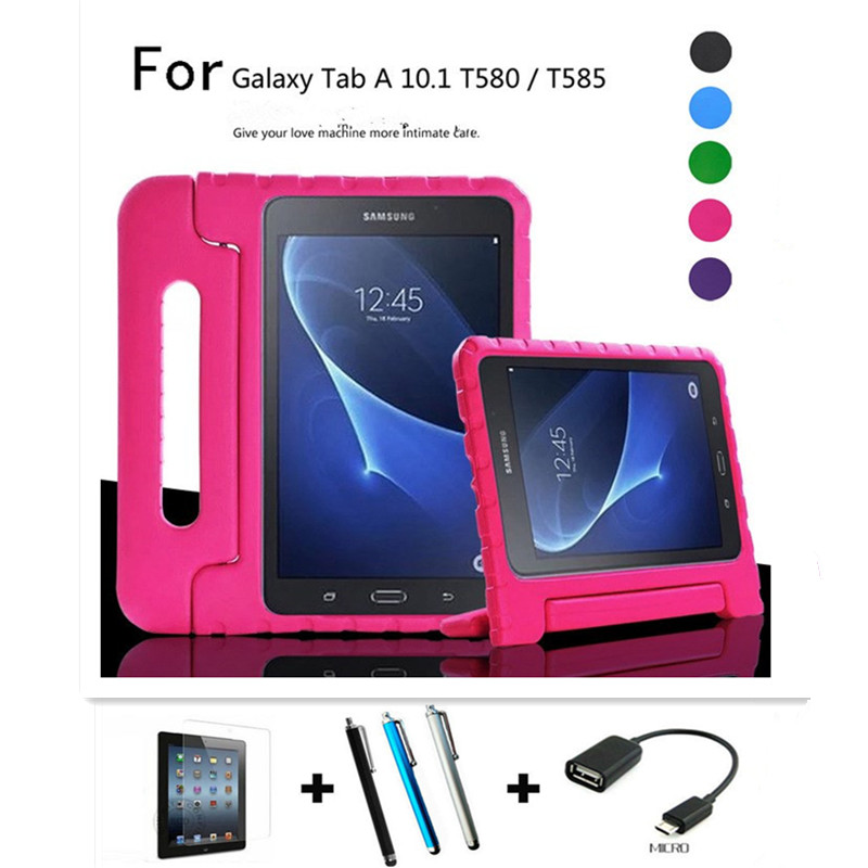 4 in 1 Kids Shock Proof Silicone Case Cover For Samsung GALAXY Tab A 10.1 T580 T585 10.1 Tablet Handbag Perfect Safe Protection