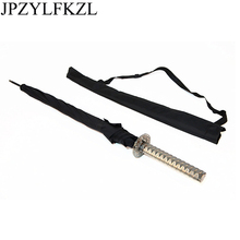 Stylish Black Japanese Samurai Ninja Sword Katana Umbrella Sunny & Rainny Long-handle Umbrellas Semi-automatic 8 Ribs