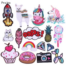 Prajna DIY Embroidered Patches for Clothing Iron on Patch Cartoon alpaca Applique Badge Cactus Cute Parches Garment Accessory F