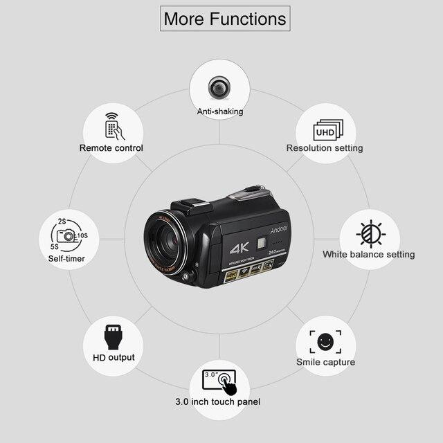 Andoer AC3 UHD 24MP Dijital Video Kamera Kamera DV Kaydedici Sıcak Ayakkabı Dağı ile 2 adet Piller + Ekstra 0.39X lens + Mikrofon