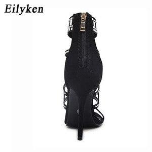 Image 4 - Eilyken אתני בוהן פתוח ריינסטון עיצוב עקב גבוה סנדלי קריסטל קרסול לעטוף יהלומי גלדיאטור נשים סנדלים שחור גודל 35 42