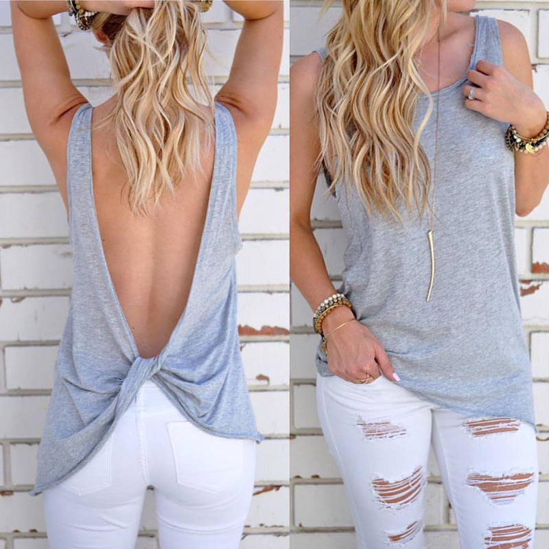 Casual Cotton T-Shirt Female Black Gray White Sexy Backless Summer - Women's Clothing - Photo 3