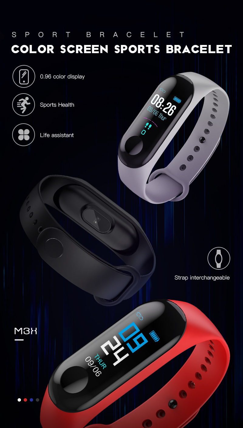 M3 Band Color Display with Blood Pressure Live Heart Rate For Men / Women Compatible with Google Android / Apple iOS Devices