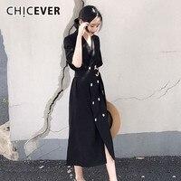 CHICEVER Summer Dresses For Women V Neck Half Sleeve High Waist Bow Double Breasted Midi Dress Female Oversize 2018 Fashion Tide