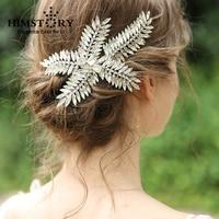 European Luxury Handmade Silver Crystal Hairpins Wedding Leaf Branch Bridal Hairgrips Jewelry Hair Accessories Hairwear