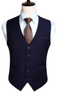 Image 1 - Мужской свадебный деловой костюм с жилетом, приталенный Повседневный смокинг, модный однотонный жилет