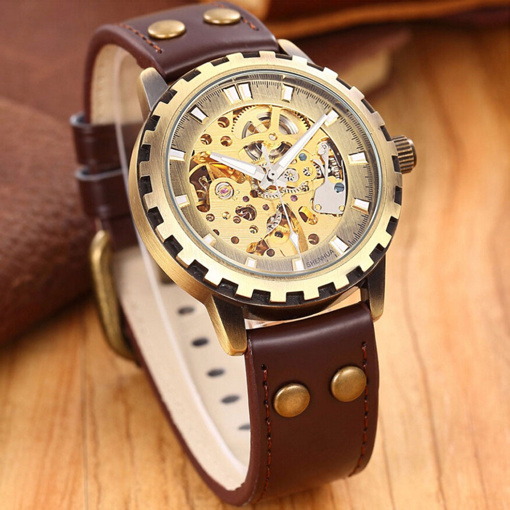 SHENHUA Men s Watches Retro Bronze Skeleton Automatic Self Wind Mechanical Watches Men Vintage Watches Leather
