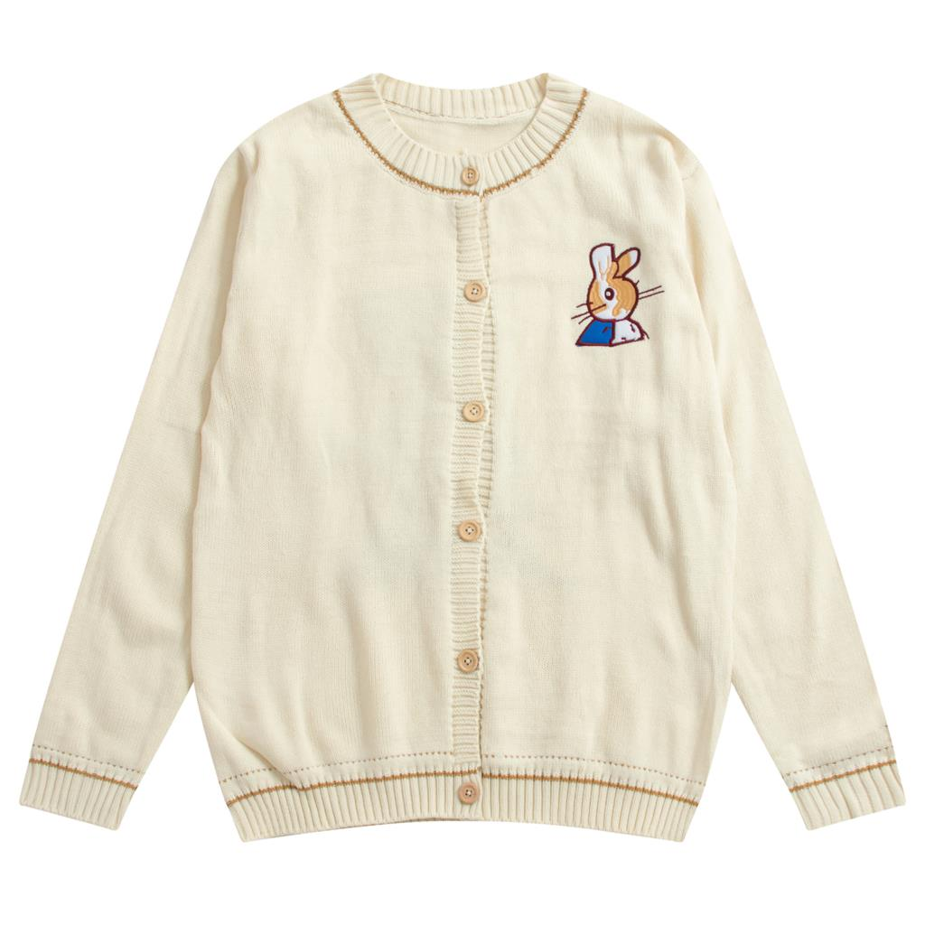 Fall Spring Women Knit Cardigan Coat Long Sleeve Bunny Embroidery Vintage Girl Loose Sweater Outwear Coats Single-Breasted