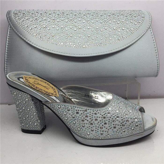 Incroyable argent africain chaussures à talons hauts sandale et sac à main ensemble GY26, hauteur du talon 7 cm