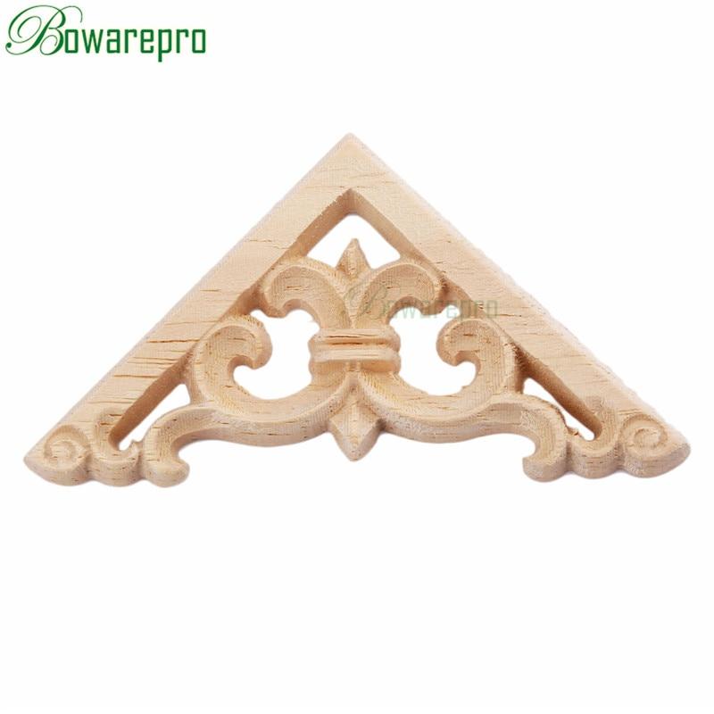 Bowarepro Vintage Floral Wood Carved Decal Corner Angle Furniture Wall Doors Decor Decorative Sculptures 6*6cm 1pcs Decor Crafts