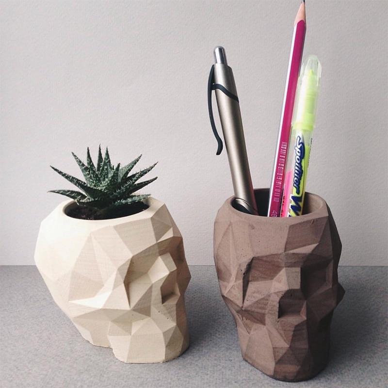 Silicone Concrete Molds Geometric Skull Flowerpot Mould Handmade Cement Plaster Molds Pen Holder Tool