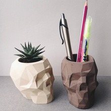Silicone Concrete Molds Geometric Skull Flowerpot Mould Handmade Cement Plaster Pen Holder Tool