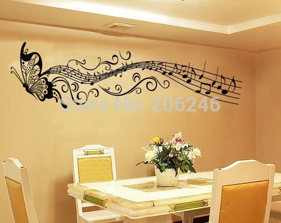 butterfly music wall art wall decals for living room NO.8121 diy ...