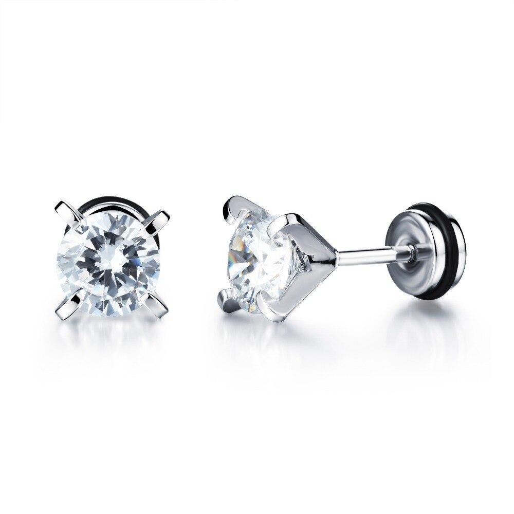 1pcs Unisex Jewelry Drop Women Cubic Zirconia Titanium Steel Earrings Ear Stud