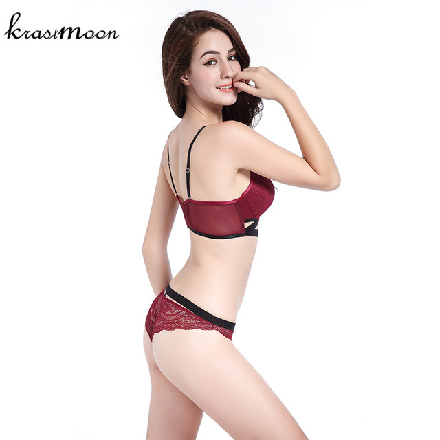 2017 Top Quality Sexy Underwear Women Bra Set Lace Bra Sexy Deep V Bow-knot Bra Briefs Set Brand Push Up Lingerie Set BS26
