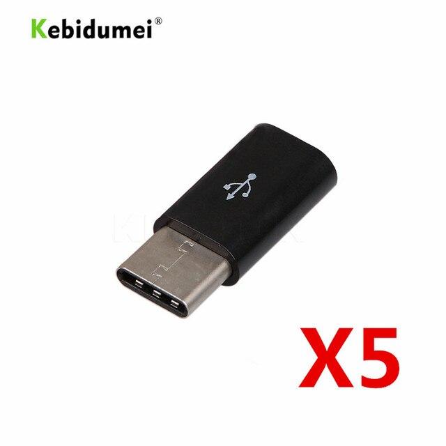 Kebidumei 5pcs Type C Male to Micro USB mini USB 3.1 5 Pin Female Data Transmission Head Adapter Charging Data Sync Transfer