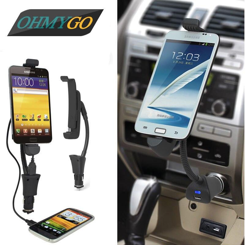 imágenes para Sostenedor del montaje del teléfono del coche 3.1a encendedor rápido cargador usb horquilla del soporte para samsung galaxy lenovo xiaomi etc smartphones