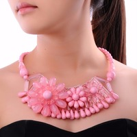 Free Ship Colorized Jelly Resin Flower Choker Statement Bib Necklace Fashion Golden Chain Spring Designer Perfect