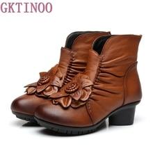 Осень и зима Модная обувь из натуральной кожи женские сапоги повседневная женская толстый каблук ручной работы женские ботильоны