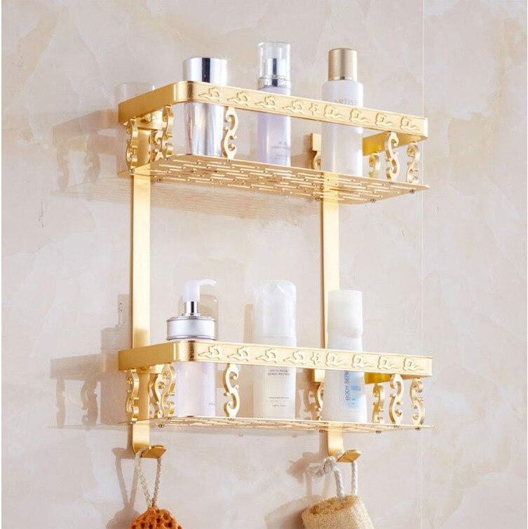 Luxury Aluminum Double Wall Mount Shower Shampoo Soap