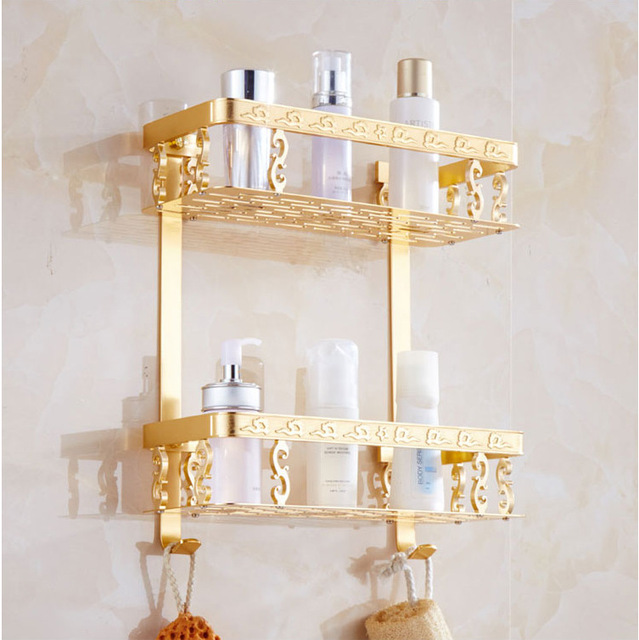 Luxury Aluminum Double Wall Mount Shower Shampoo Soap Cosmetic Storage Shelves Gold Bathroom Shelf