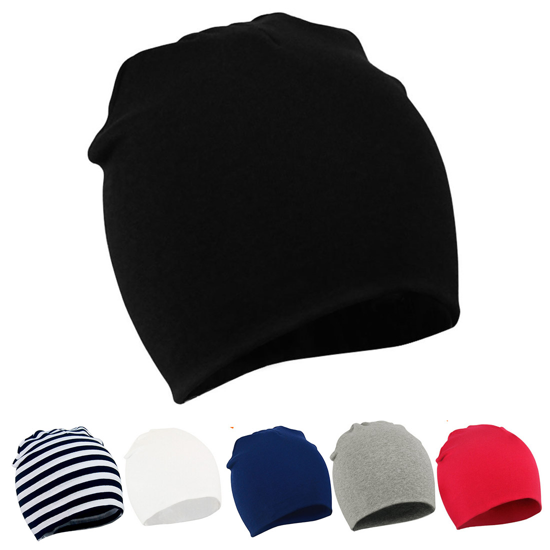 Baby Toddler Cotton Soft Cute Knit Kids Hat Beanies Cap Colour #1: white, black, navy, gray, red, black and white stripes