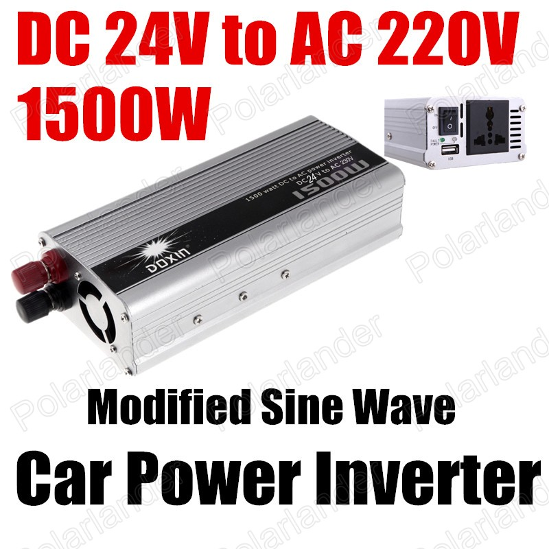 ФОТО New 24V DC to AC 220V Car Auto Power Inverter Converter 1500W USB port hot selling voltage transformer Modified Sine Wave