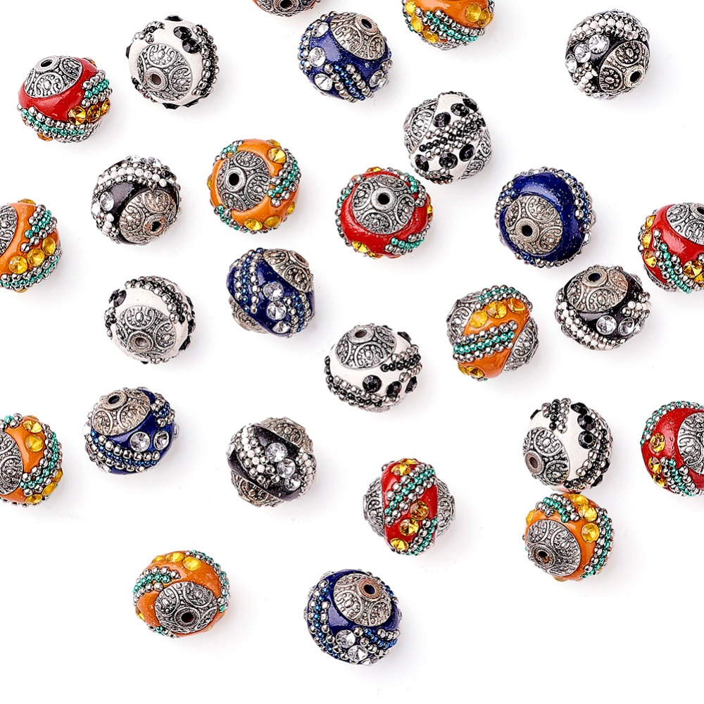 Image 3 - 100pc 15mm Handmade Indonesia Beads With Alloy Cores Round Mixed Color Antique Silver For DIY Jewelry Making Bracelets Supplies-in Beads from Jewelry & Accessories