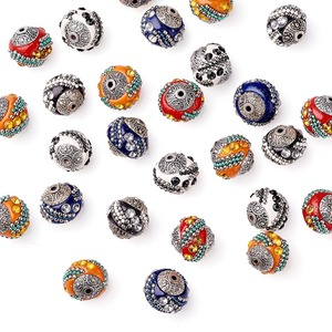 Image 3 - 100pc 15mm Handmade Indonesia Beads With Alloy Cores Round Mixed Color For DIY Jewelry Making Bracelets Supplies