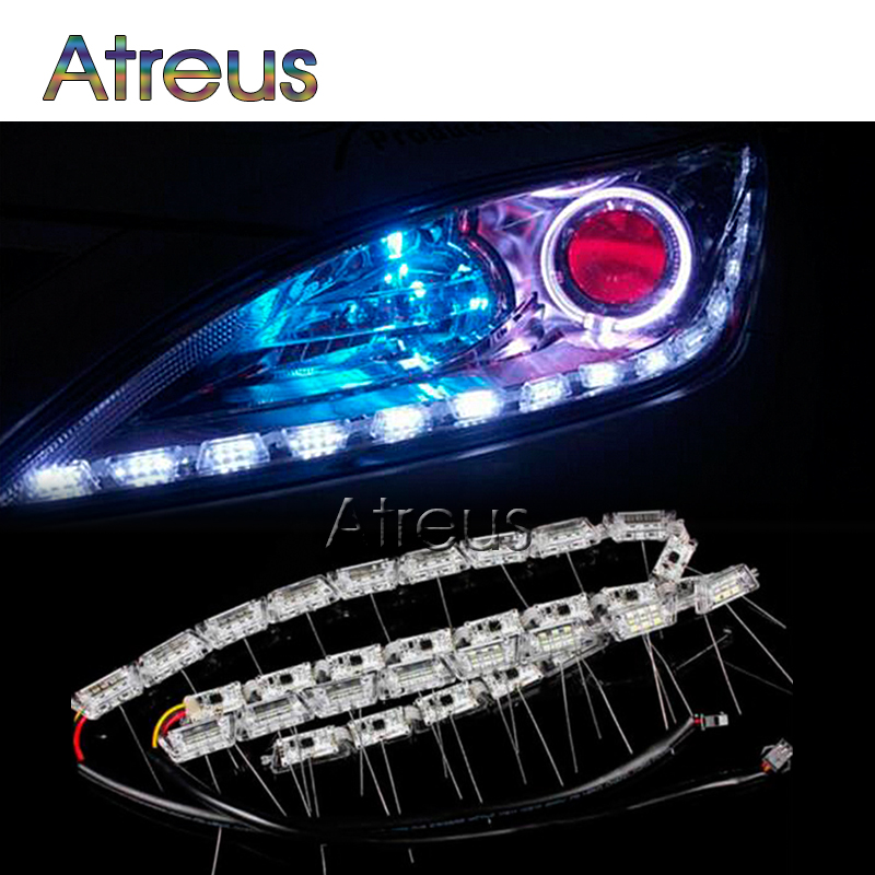 2X Car LED Strip Lamp Kit DRL lights 12V For BMW E46 E39 E60 E90 <font><b>Lexus</b></font> RX NX GS For Infiniti q50 FX35 with video Car accessories