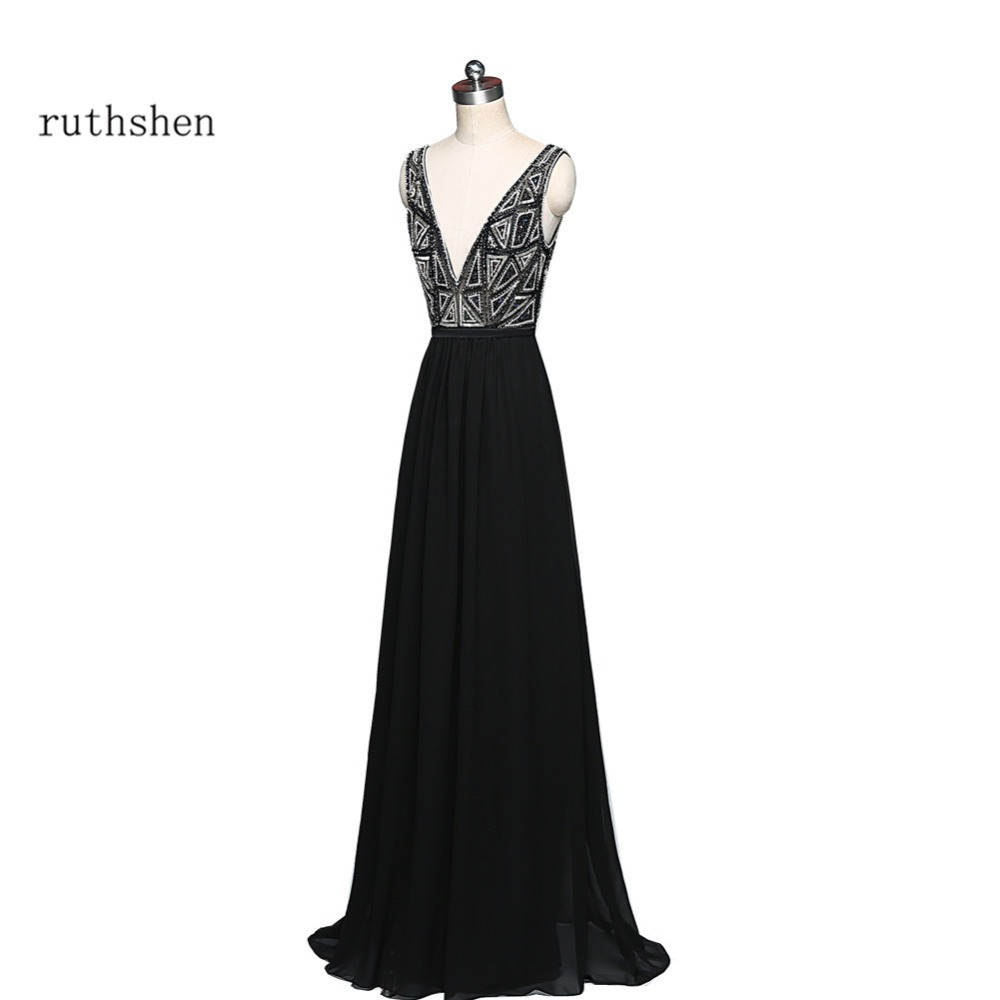 ruthshen Black Evening   Dresses   Long Sexy Chiffon   Prom     Dresses   2018 Cheap Crystals Beaded Formal Evening Gowns Vestido De Festa
