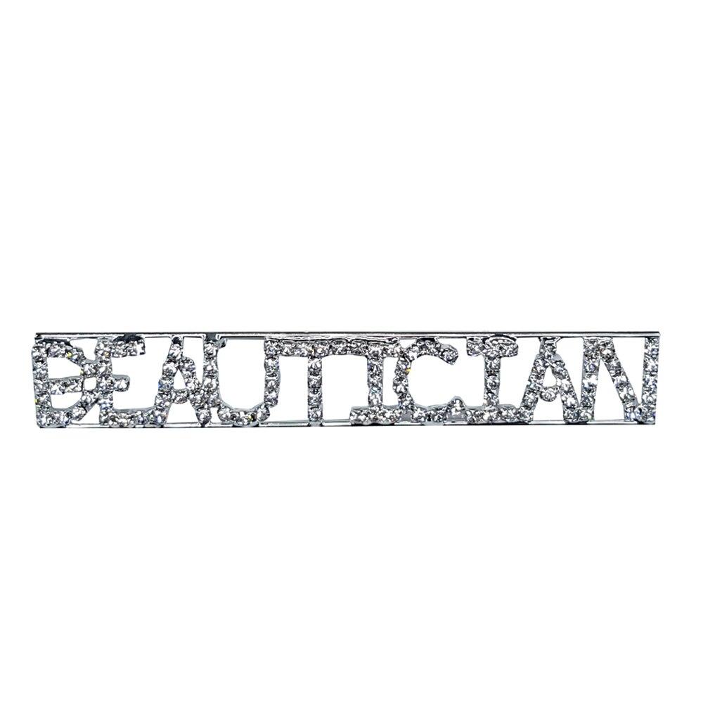 Custom Professions&Jobs Theme Crystal Lapel Pin BEAUTICIAN Word Brooch Gift Wholesale 6PCS/LOT FREE SHIPPING