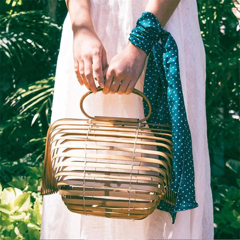 2017 Beach Bags Women Large Straw Bag Summer Hollow Out Tote Luxury Designer Bamboo Handbags Big