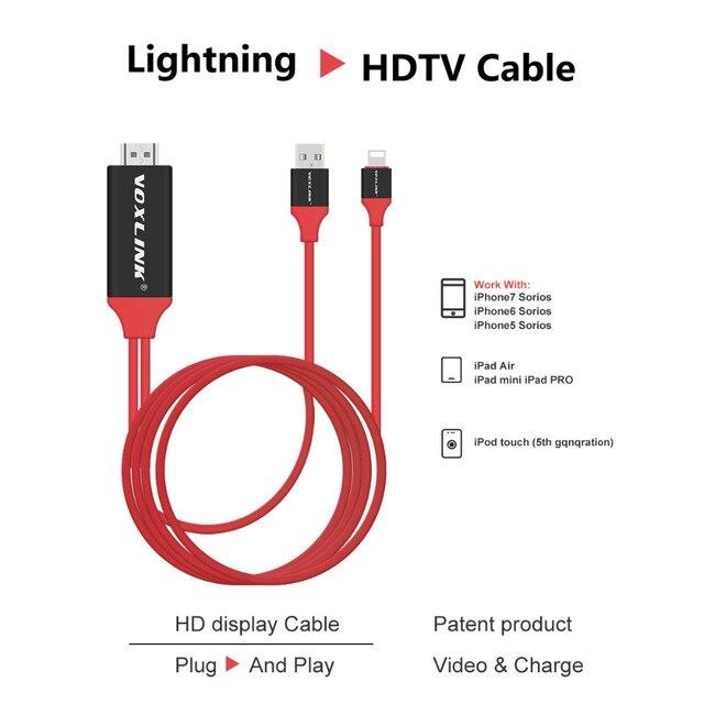 VOXLINK 2 м Для Lightning с HDMI/HDTV AV TV Кабель-Адаптер 1080 P Для Apple iPhone 7 6 6 s Плюс 5S iPad Air ipad mini Нет необходимости WIFI