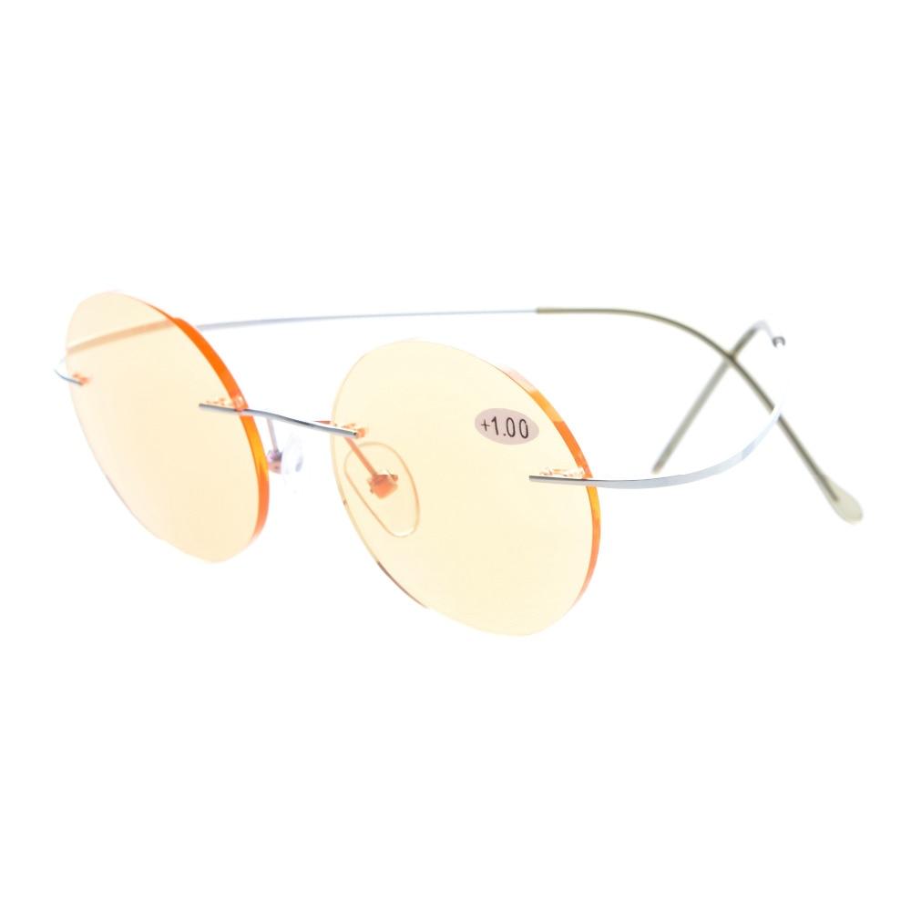 7f43bc89565 Cg eyekepper titanium rimless round orange tinted lenses computer reading  glasses circle readers jpg 1000x1000 Orange