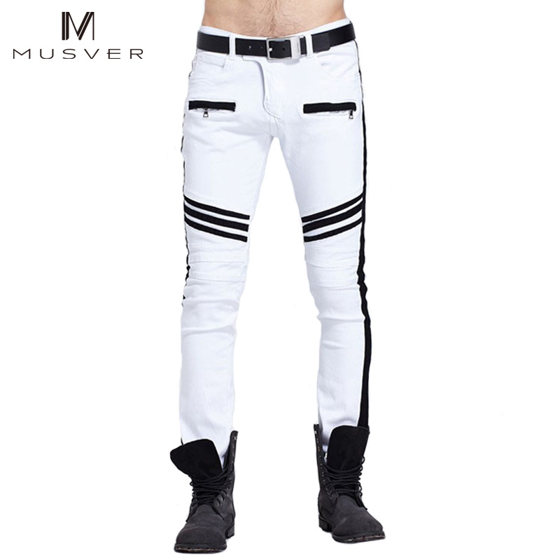 MUSVER White Biker Jeans Mens 2017 Fashion Hip Hop Runway Distressed Slim Fit Stretch Denim Pants Joggers Skinny Jeans Homme white ripped jeans for men superstar skinny jeans fashion casual slim fit mens biker jeans brand hip hop denim overalls pants