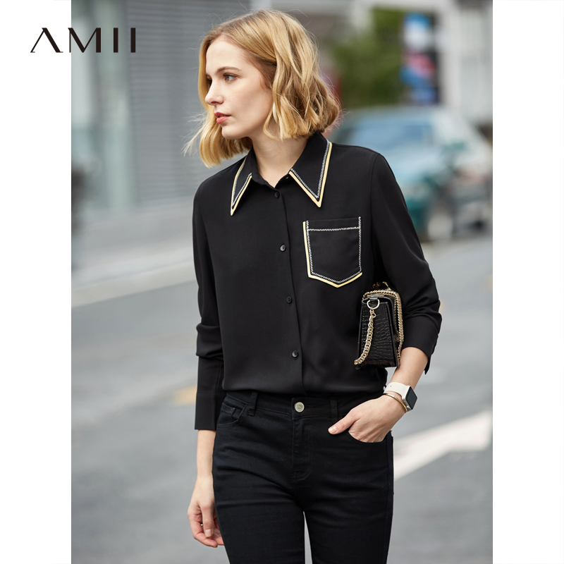 Amii Minimalist Women Shirts Spring 2019 New Office Contrast Color Notched Pockets Yellow Black Long Sleeve