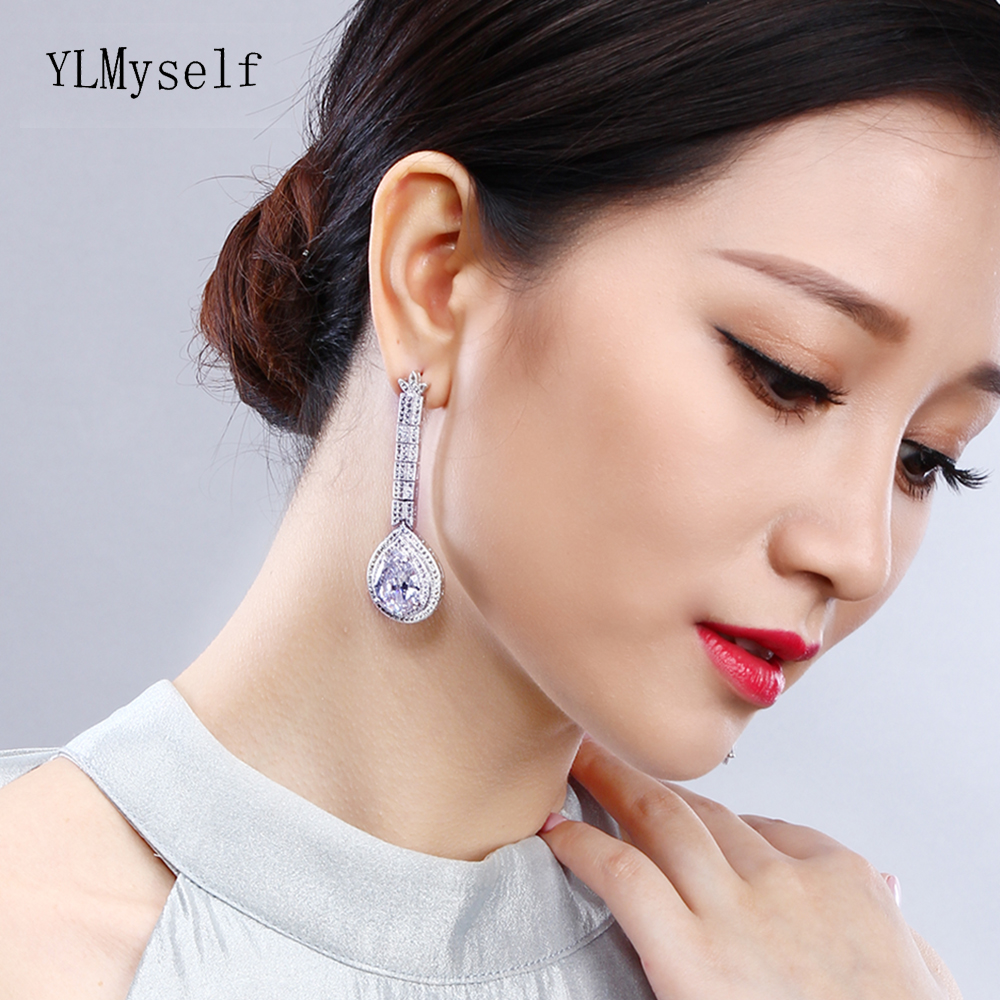 Big waterdrop earrings for wedding party luxury color jewelry jewellery white Green Black Red and Gold colors large drop earring